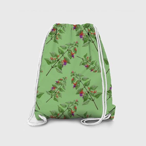 Рюкзак «Цветы фуксии на светло зеленом фоне»