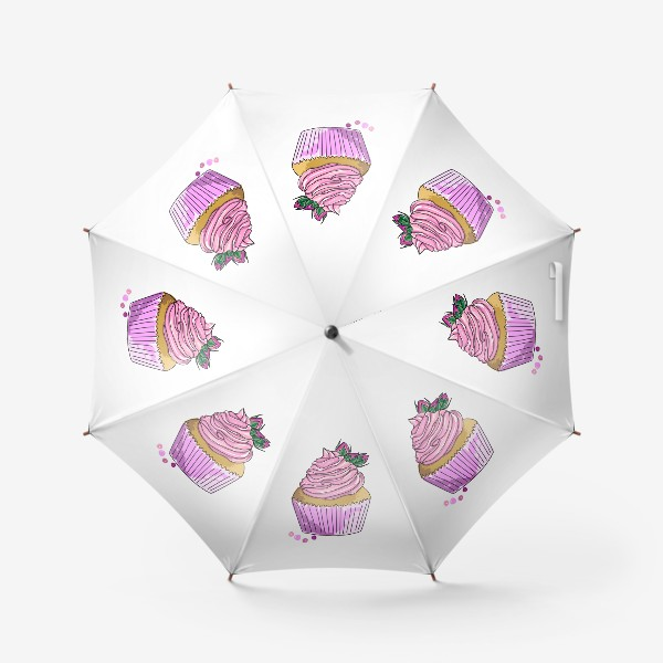 Зонт «Капкейк с розочками. Кекс с кремом и бутонами цветов. Пирожное. Сладости»