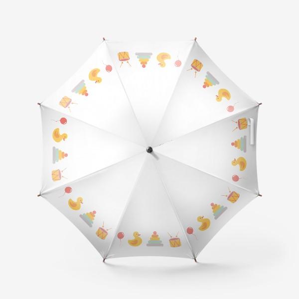 Зонт «Детские игрушки: уточка, барабан, пирамида, воздушный шар»