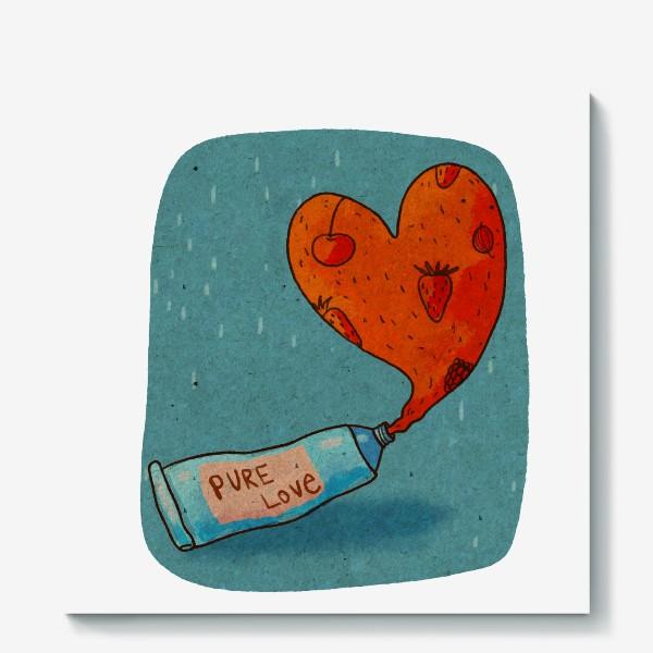 Холст «Тюбик, из которого вытекает ягодное пюре в форме сердца. Надпись PURE LOVE»