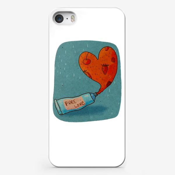 Чехол iPhone «Тюбик, из которого вытекает ягодное пюре в форме сердца. Надпись PURE LOVE»