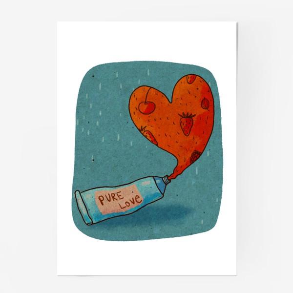 Постер «Тюбик, из которого вытекает ягодное пюре в форме сердца. Надпись PURE LOVE»