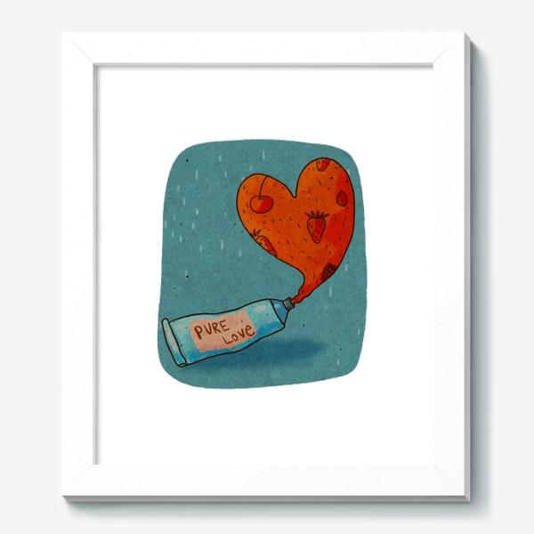 Картина «Тюбик, из которого вытекает ягодное пюре в форме сердца. Надпись PURE LOVE»