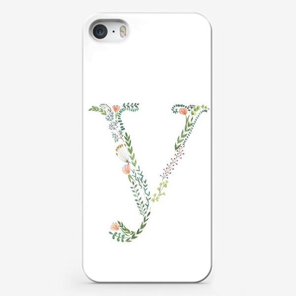 Чехол iPhone «Буква У из веточек, листиков, цветов и ягод.»