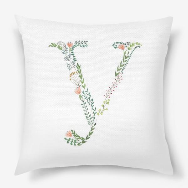 Подушка «Буква У из веточек, листиков, цветов и ягод.»