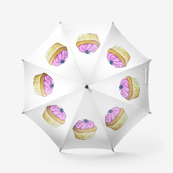 Зонт «Пирожные с черникой. Капкейки с кремом. Кексы ягодные»