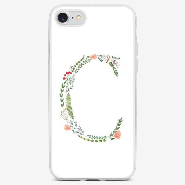 Чехол iPhone «Буква С из веточек, листиков, цветов и ягод.»