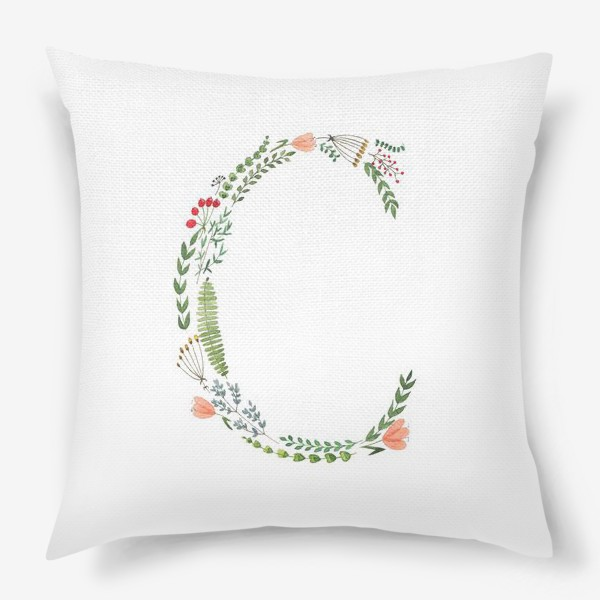 Подушка «Буква С из веточек, листиков, цветов и ягод.»