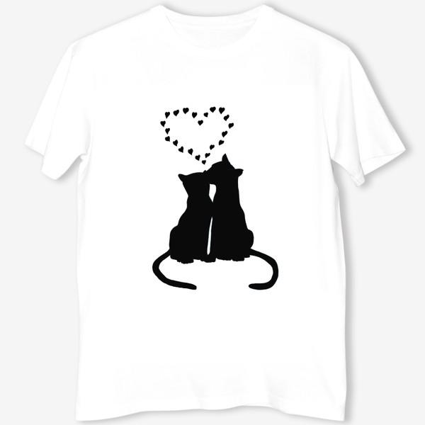 Футболка «Влюблённая пара котов и сердечки»