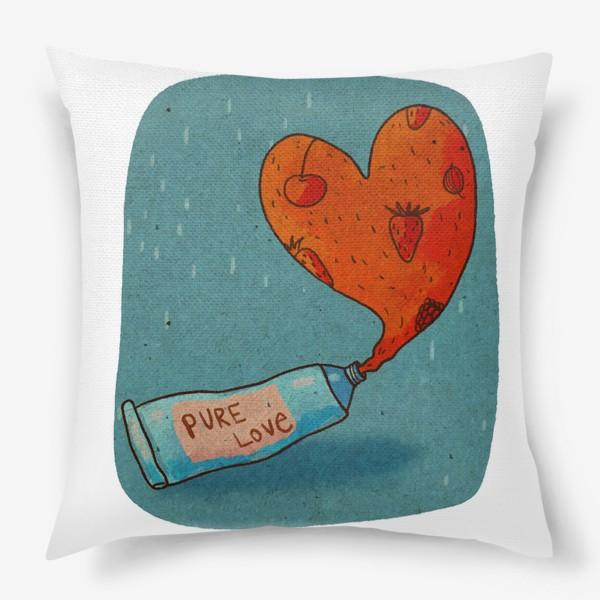 Подушка «Тюбик, из которого вытекает ягодное пюре в форме сердца. Надпись PURE LOVE»