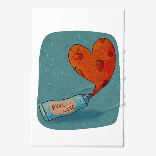 Полотенце «Тюбик, из которого вытекает ягодное пюре в форме сердца. Надпись PURE LOVE»