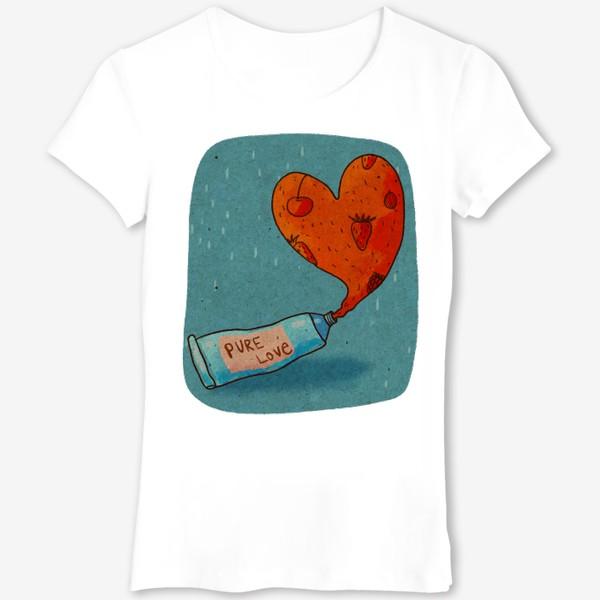 Футболка «Тюбик, из которого вытекает ягодное пюре в форме сердца. Надпись PURE LOVE»