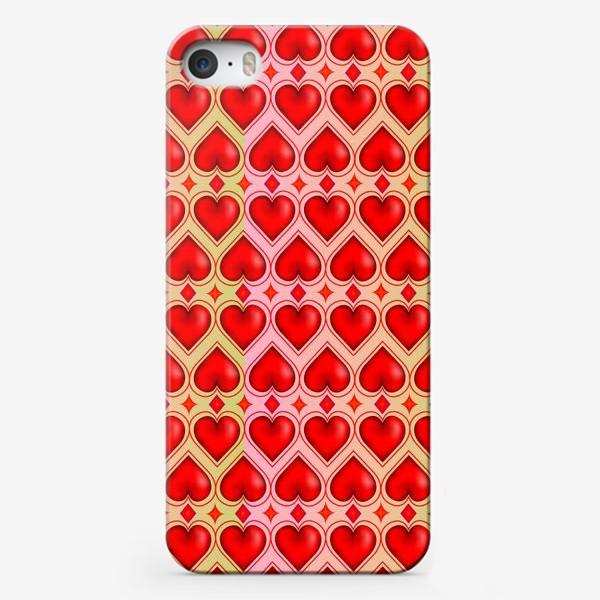 """Чехол iPhone «Паттерн """"Влюбленные сердечки""""»"""
