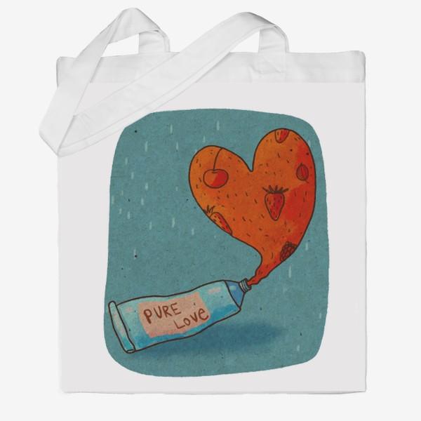 Сумка хб «Тюбик, из которого вытекает ягодное пюре в форме сердца. Надпись PURE LOVE»