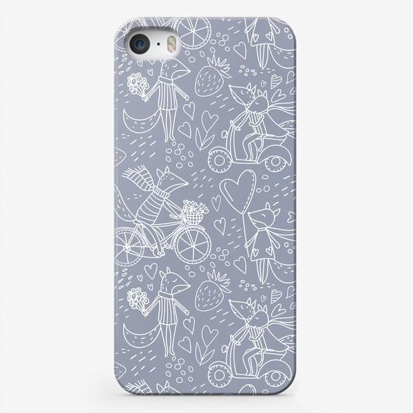 Чехол iPhone «Влюбленные лисички в стиле дудл на сером фоне (от volnata)»