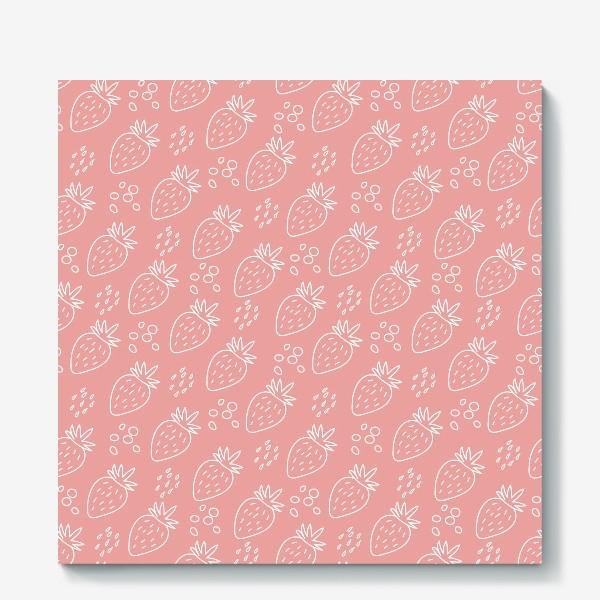 """Холст «Клубника в стиле дудл на розовом фоне из серии """"Влюбленные лисички"""" от volnata»"""