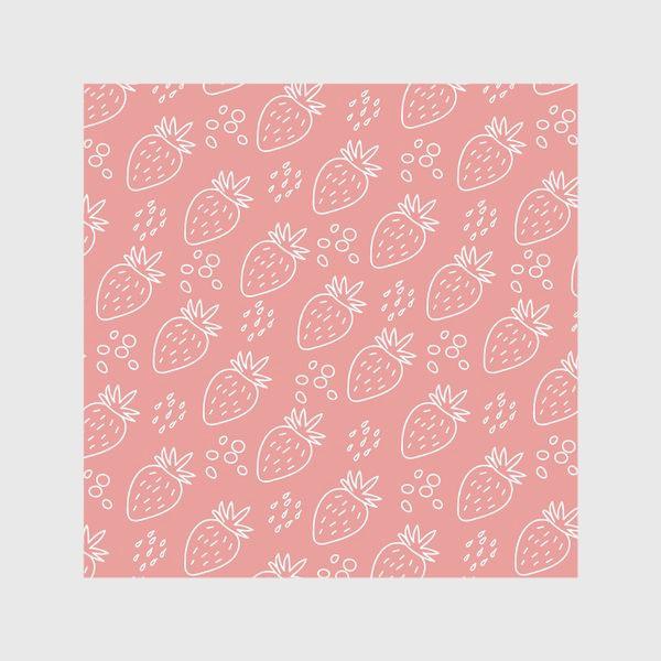 """Шторы «Клубника в стиле дудл на розовом фоне из серии """"Влюбленные лисички"""" от volnata»"""