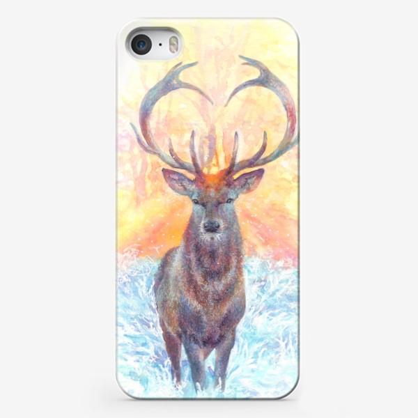 Чехол iPhone «Олень, зима, солнце»