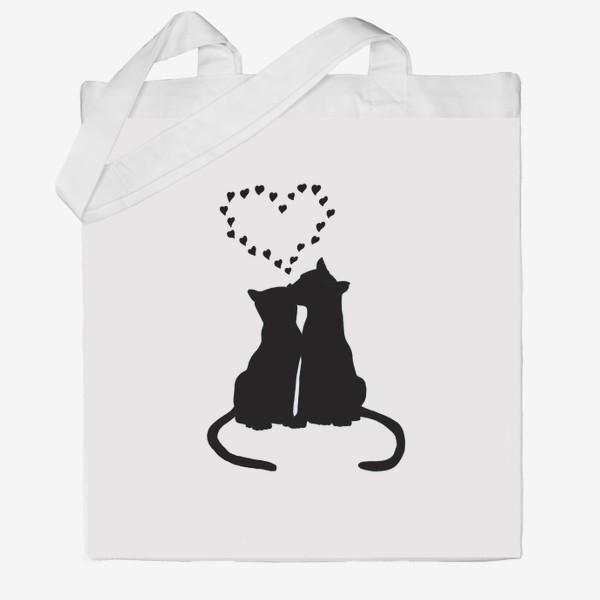 Сумка хб «Влюблённая пара котов и сердечки»