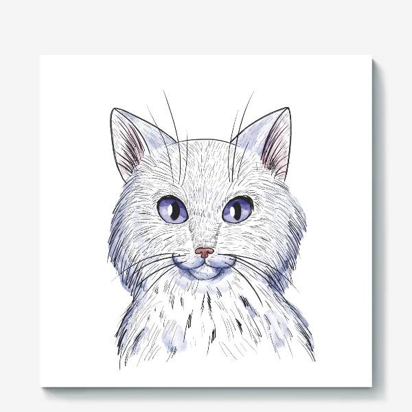 Холст «Кот акварель»