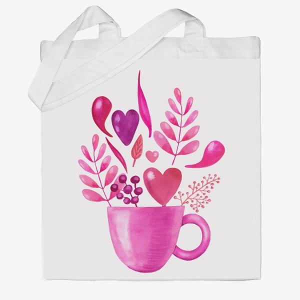 Сумка хб «Розовая кружка с розовыми цветами»