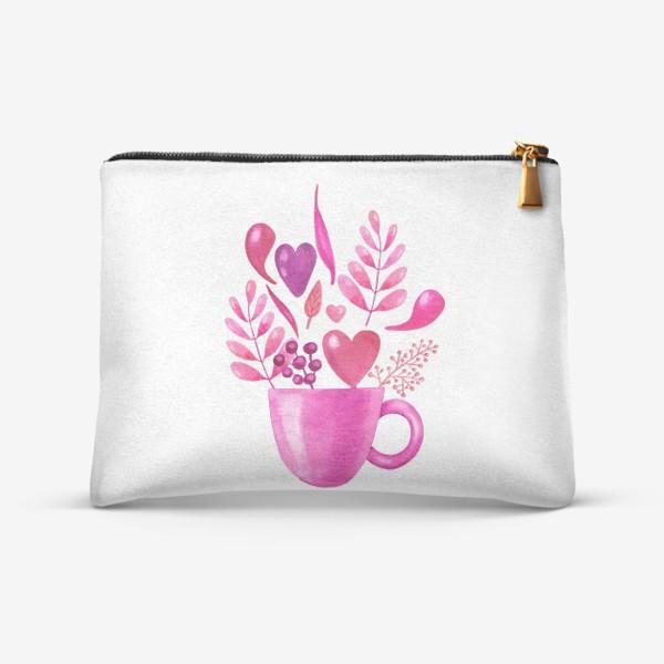 Косметичка «Розовая кружка с розовыми цветами»