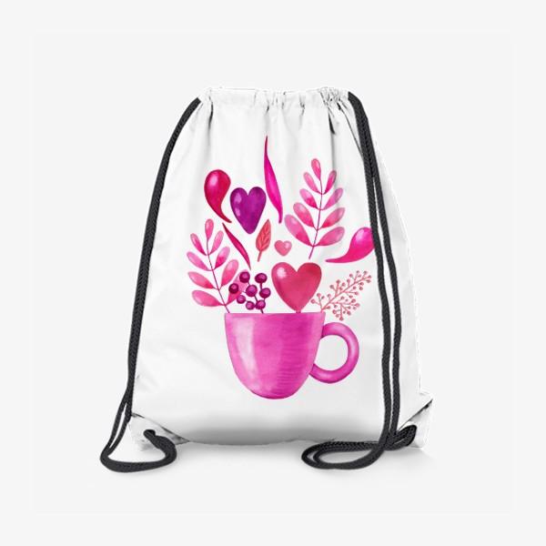 Рюкзак «Розовая кружка с розовыми цветами»