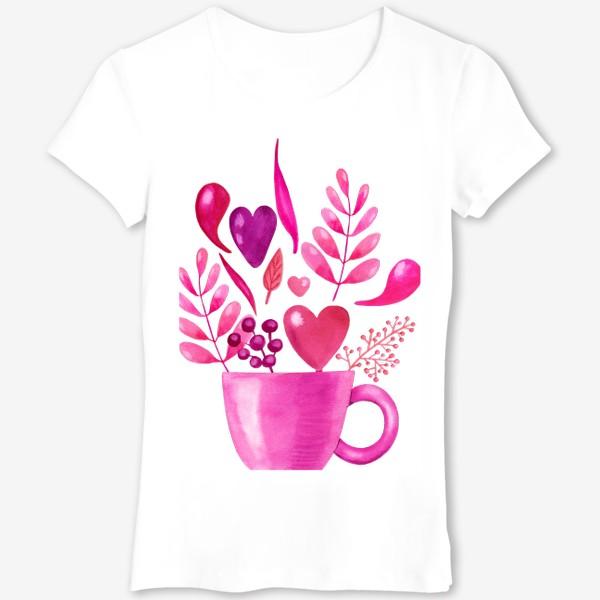 Футболка «Розовая кружка с розовыми цветами»