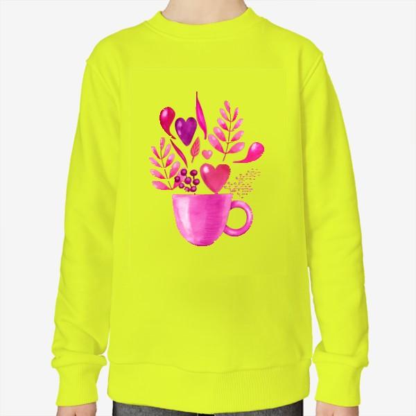 Свитшот «Розовая кружка с розовыми цветами»