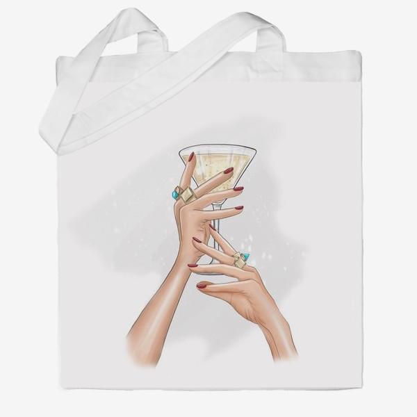 Сумка хб «Руки девушки с коктейлем»