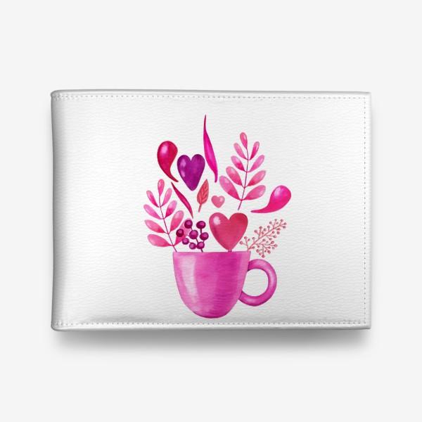 Кошелек «Розовая кружка с розовыми цветами»