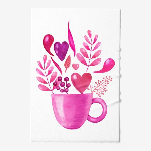 Полотенце «Розовая кружка с розовыми цветами»
