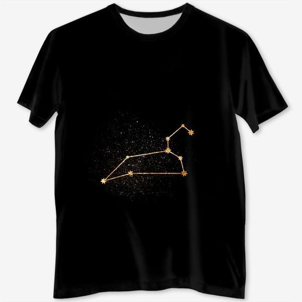 Футболка с полной запечаткой «Лев. Созвездие. Золото»