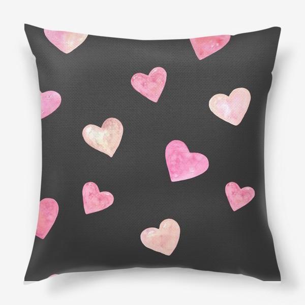 Подушка «День Влюбленных. Паттерн. Сердце. Черный фон»