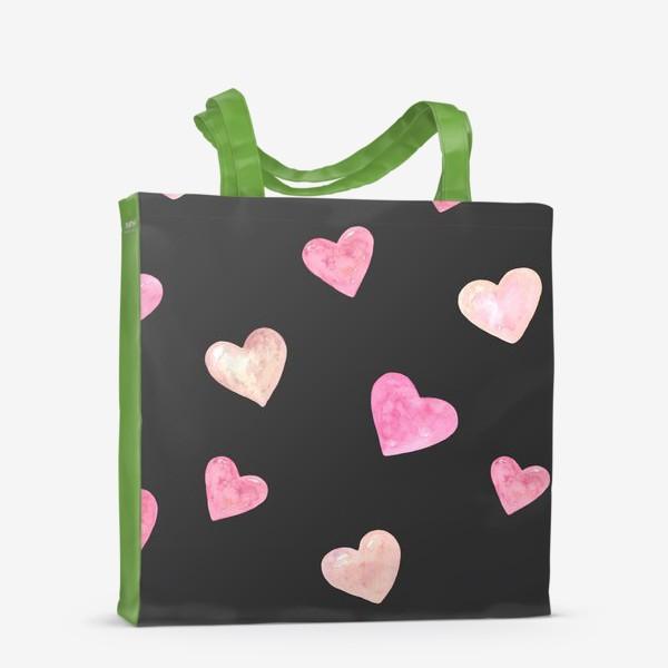 Сумка-шоппер «День Влюбленных. Паттерн. Сердце. Черный фон»