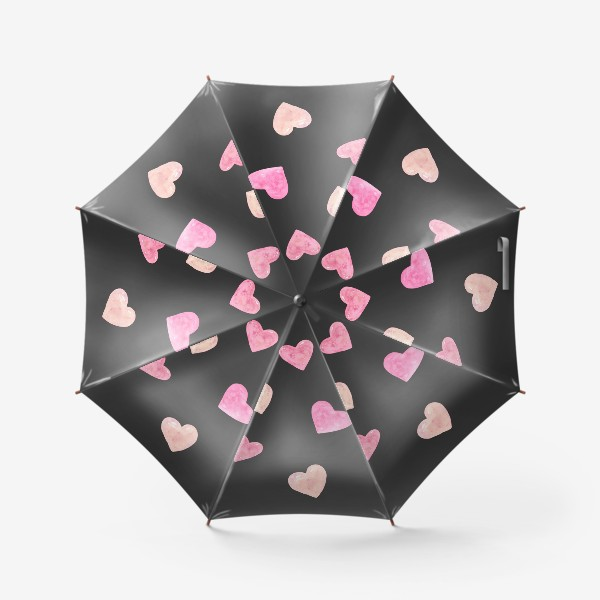 Зонт «День Влюбленных. Паттерн. Сердце. Черный фон»