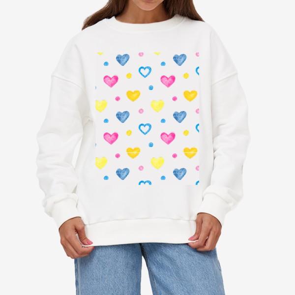 Свитшот «Акварельные разноцветные сердечки»