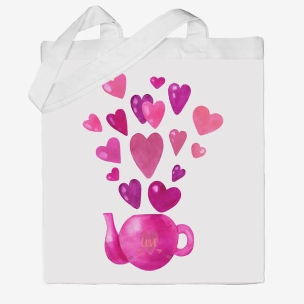 Сумка хб «Розовый чайник с любовью и сердечками »