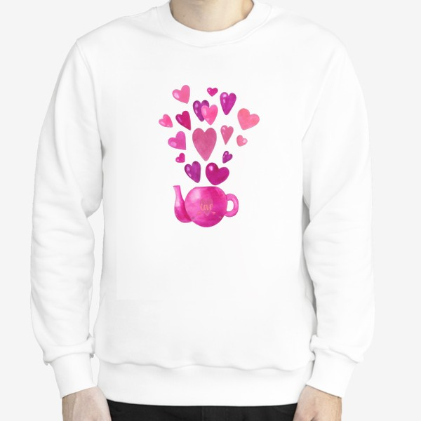 Свитшот «Розовый чайник с любовью и сердечками »
