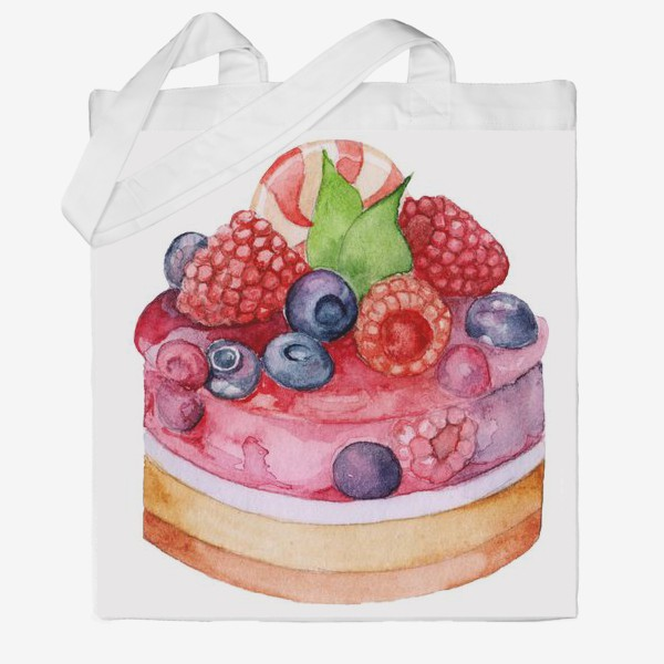 Сумка хб «Sweet dessert, cake with jelly and berries.»