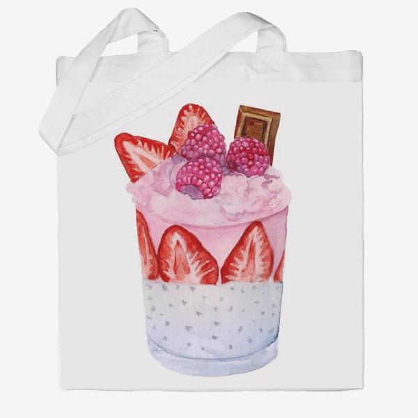Сумка хб «A glass of sweet dessert with berries and chocolate.»