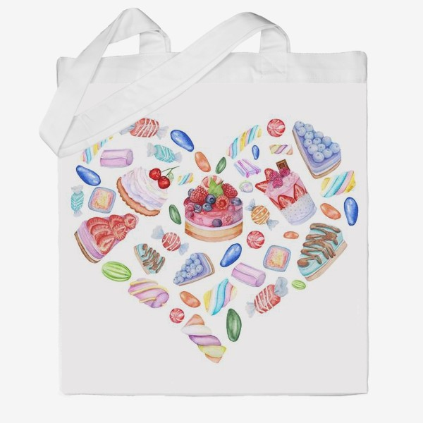Сумка хб «Heart with watercolor pictures of cakes, sweets, cream»