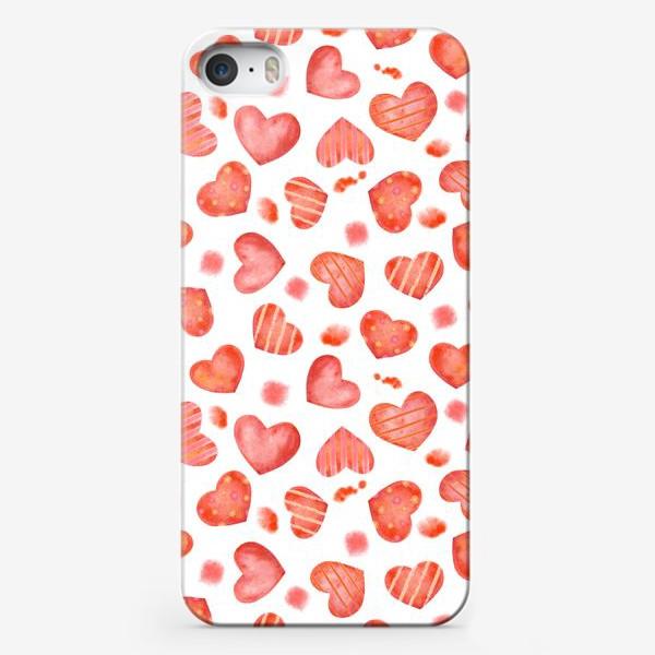 Чехол iPhone «Сердце. паттерн, акварель»