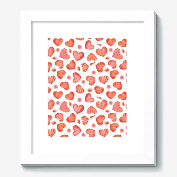 Картина «Сердце. паттерн, акварель»