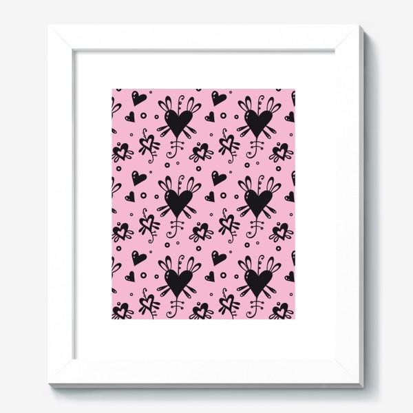 Картина «Сердечки на розовом.»