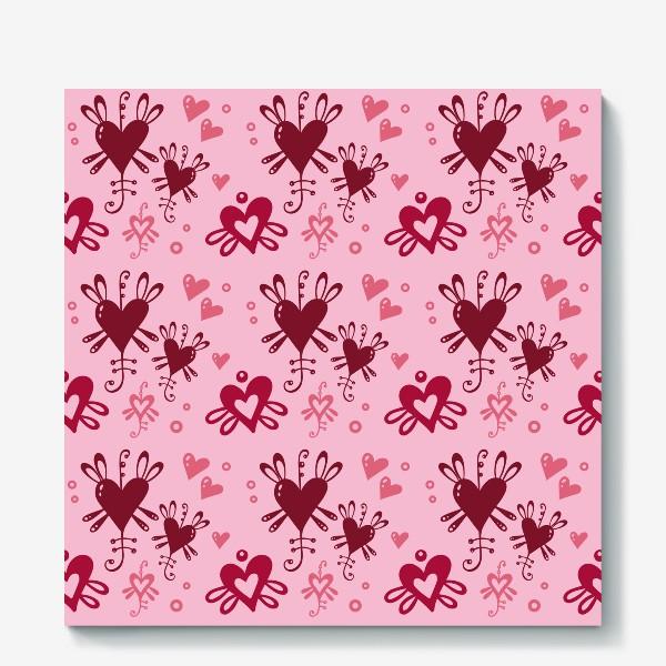 Холст «Разноцветные сердечки на розовом.»