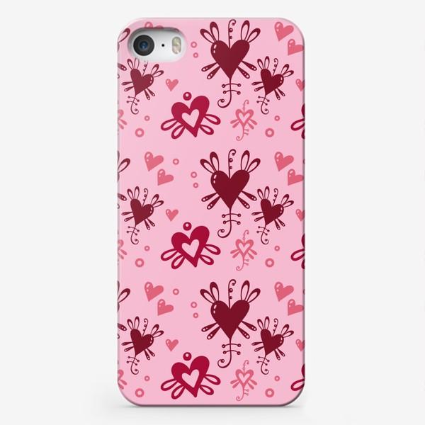 Чехол iPhone «Разноцветные сердечки на розовом.»
