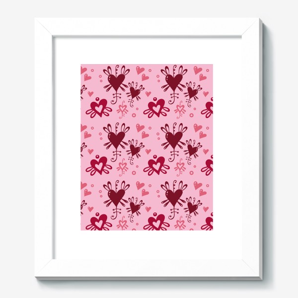 Картина «Разноцветные сердечки на розовом.»