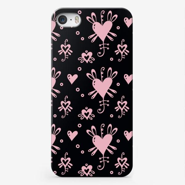 Чехол iPhone «Розовое на черном.»