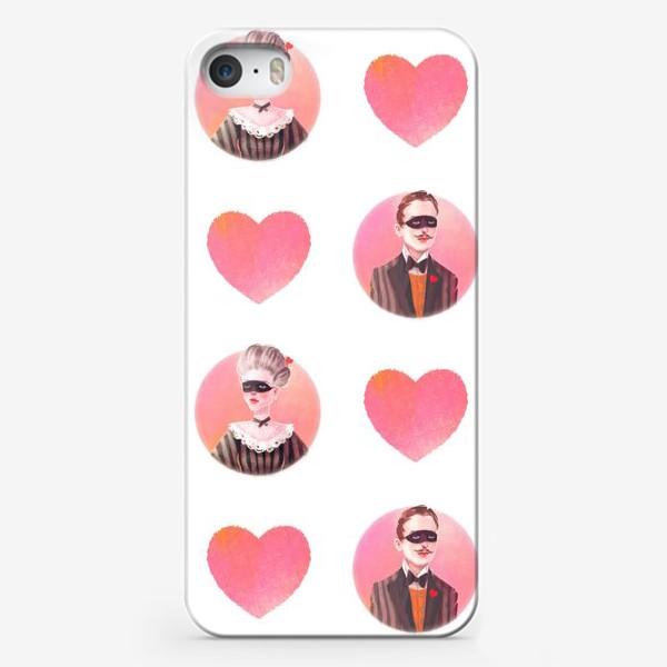 Чехол iPhone «Валентинка Винтаж Паттерн Он и Она»